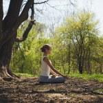 Woman Meditating Outdoors — Stock Photo