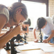 Biology Lesson: Students Looking Through Microscopes — Stock Photo #34755487
