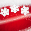 Stock Photo: Red Snowflake Background