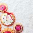 Gingerbread Cookies on Snow — Stock Photo #34756355