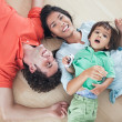 Happy Family Lying on Floor — Stok fotoğraf
