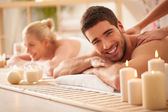 Couple Enjoying a back Massage — Stock Photo