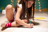 Girl Drawing in Her Room — Stock Photo