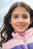 Smiling Caucasian Girl Outdoors — Stock Photo