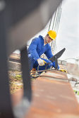 Construction Worker on the Roof — Stock Photo