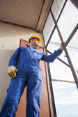 Construction Worker Looking out of a Window — Stock Photo