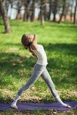 Young Caucasian Woman Doing Yoga Outdoors — Stock Photo