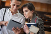 College Students With a Tablet — Stock Photo