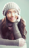 Woman Daydreaming in Winter — Stock Photo