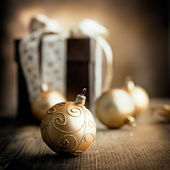 Christmas Present and Ornaments — Stock Photo