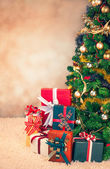 Christmas Tree and Presents — Stock Photo