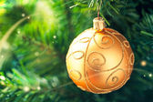 Gold Christmas Ornament — 图库照片