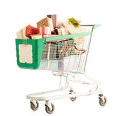 Shopping Cart With Presents — Stockfoto