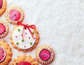 Gingerbread Cookies on Snow — Stock Photo