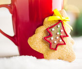 Perník cookie a horká čokoláda — Stock fotografie