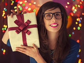 Hipster Woman's Birthday — Stockfoto