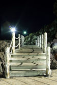 Wooden bridge at night — Stock Photo