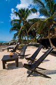 Palm beach with deck chairs in Tulum Mexico — Stockfoto