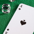 Playing card with dice — Stock Photo