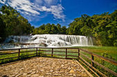 Viewing platform at the waterfall — Stock Photo