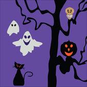 Modèle de conception fête halloween, avec citrouille, des crânes, des fantômes — Vecteur