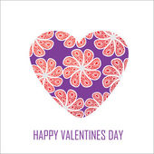 Purple heart with red flowers for Valentine's Day, for design an — Vector de stock