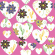 Floral background with cute abstract heart and flower, raster — Stock Photo
