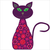 Silhouette of a cat with pretty flowers on a white background fo — Stock Vector