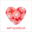 Stockfoto: Red heart with flowers for Valentine's Day, for design and for o