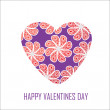 Violet heart with red flowers for Valentine's Day, for design a — Stok Fotoğraf #37560713