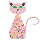 Cute cat with pretty flowers on a white background for your des — Stock Vector