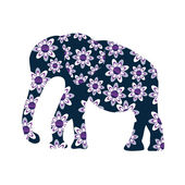 Elephant silhouette with flowers, vector  — Vector de stock