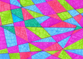 Artistic geometric background painted markers.  Handmade triangl — Stock Photo
