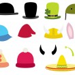Set of funny hats illustration — Stock Vector