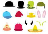 Набор смешные шляпы иллюстрации — Cтоковый вектор