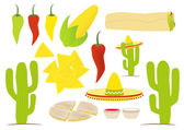 Set of vector isolated mexican cuisine things — Stock Vector
