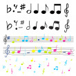 Silhouettes of music notes — Stock Vector