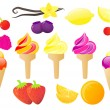 Ice creams and fruits vector set — Stock Vector