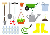 Gardening equipment vector set — Stock Vector