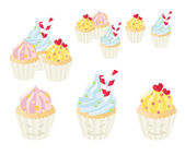 Cute cupcakes with frosting — Stock Vector