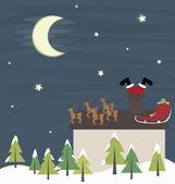 Vector santa stuck in chimney funny trouble — Stock Vector