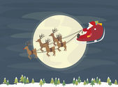 Santa Claus flying over the forest in sleigh — Stock Vector