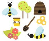 Aislado abeja miel vector cosas — Vector de stock