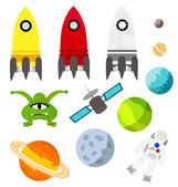 Set of isolated space things and planets — Stock Vector