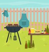 Barbecue grill scene vector — Stock Vector