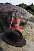 Wide Angle View of Violin and Cowboy Hat Lying on a Boulder — Stock Photo