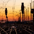 Railroad Tracks at Sunset - Stockfoto
