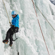 Female Ice Climber in South Tyrol, Italy — Foto Stock