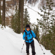 Young Woman Snowshoeing in South Tyrol — Foto Stock