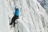 Female Ice Climber in South Tyrol, Italy — Stock Photo